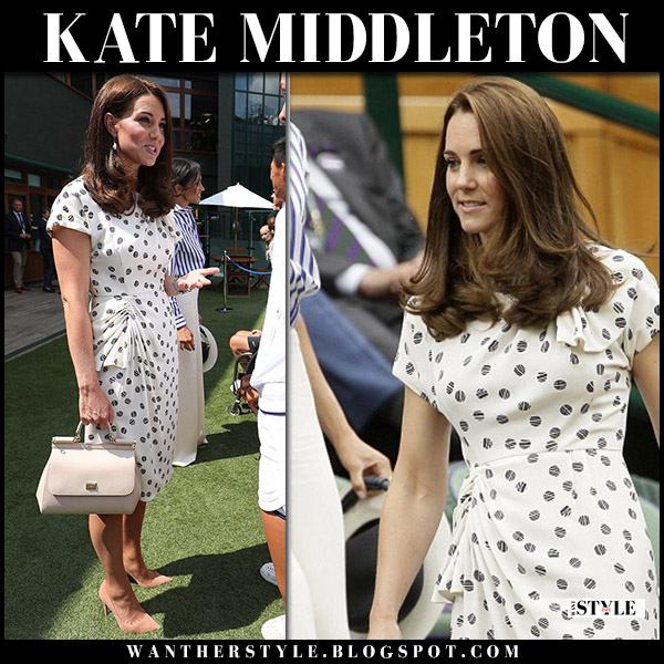 Kate Middleton in white printed midi dress jenny packham and beige suede pumps gianvito rossi wimbledon royal fashion july 14