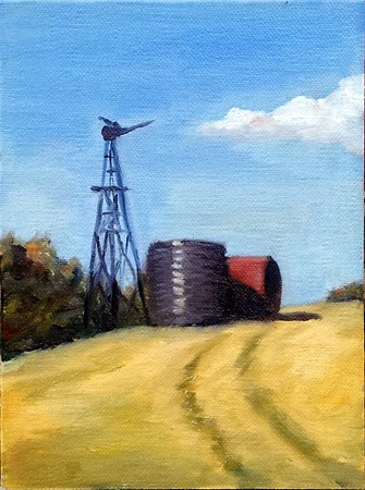 Oil painting of a windmill without sails beside two water tanks on a hillside, with dry grass and wheel marks in the foreground.