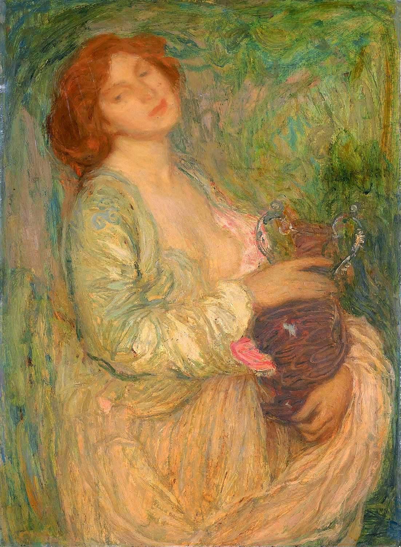 Mulher com Vaso - Edmond Aman-Jean e suas principais pinturas  ~ Art Nouveau