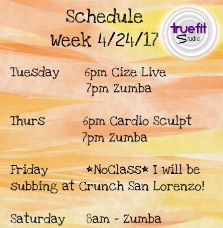 truefit studio weekly schedule 4 24 and may schedule