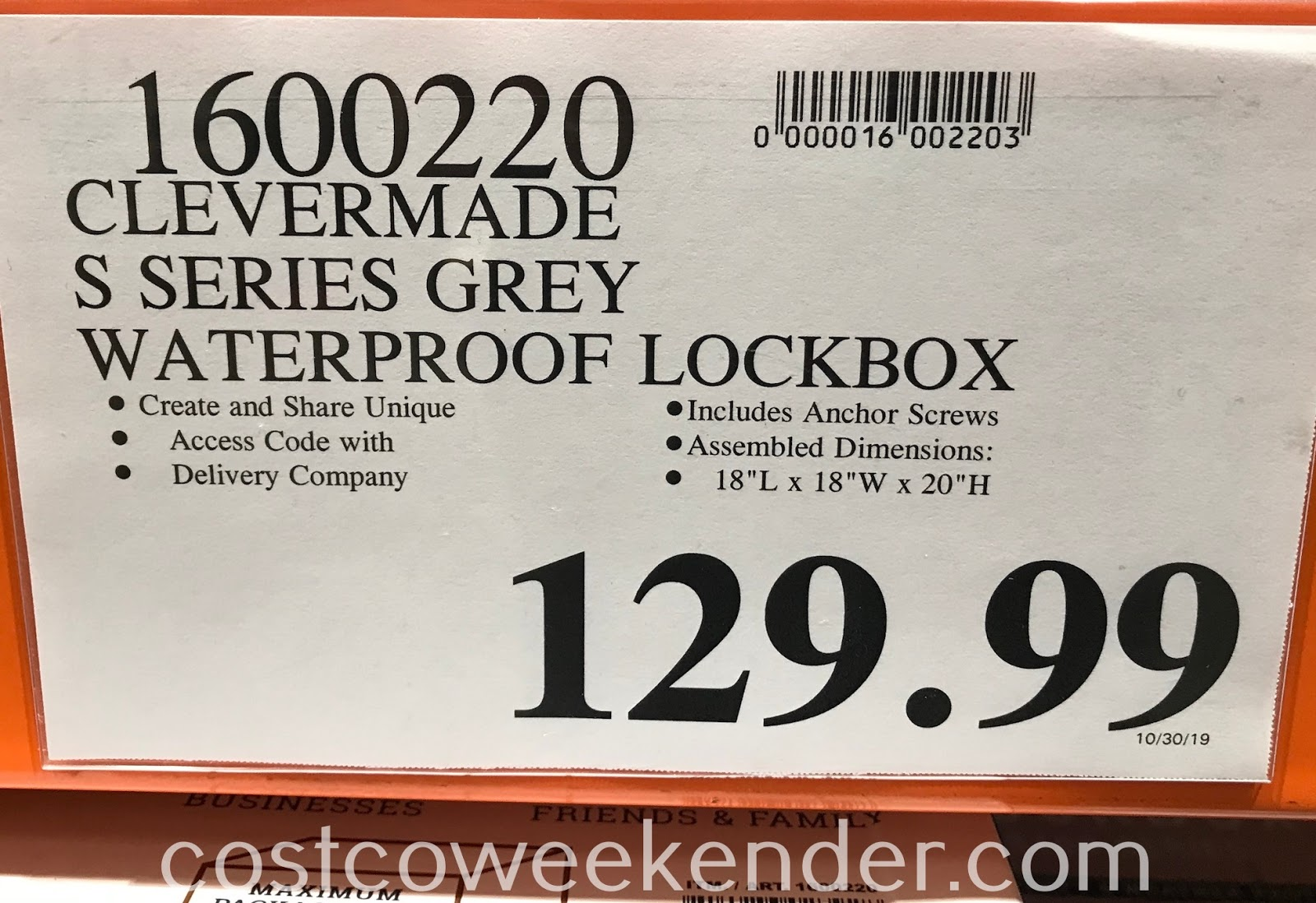 Deal for the CleverMade S100 Series Grey Parcel LockBox at Costco