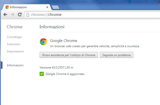 Informazioni Google Chrome