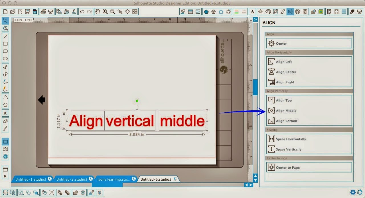 Silhouette Studio, align tool, Silhouette tutorial, align middle