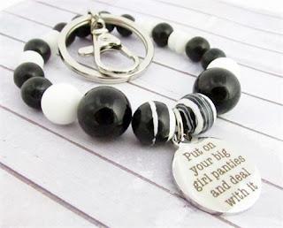 Quote Keychain Bracelet, Wristlet Keychain, Wrist Keychain