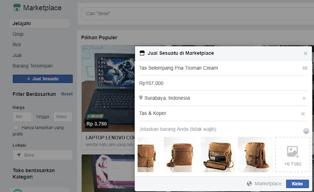 Cara Upload Produk di Marketplace Facebook ( Via PC / Laptop )