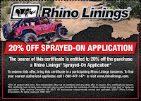 RHINO LININGS YEAR END PROMOTION, ANNOUNCED