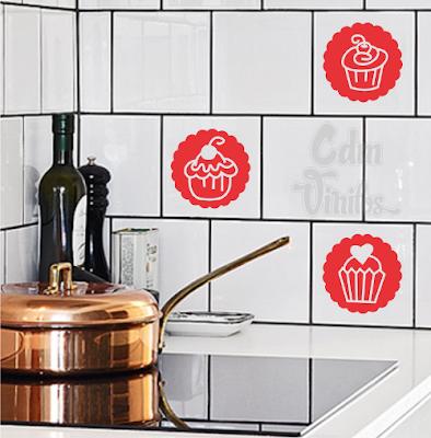 Pack de vinilos decorativos para azulejos de cocinas y for Azulejos decorativos cocina