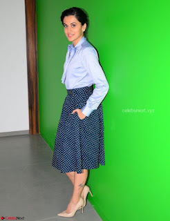 Taapsee Pannu in Light Blue Shirt and Black Top Promoing her movie Gaazi   February 2017 007.jpg