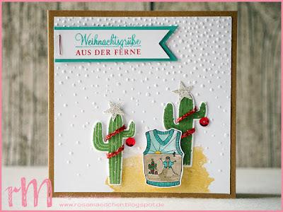 Stampin' Up! rosa Mädchen Kulmbach: Weihnachtskarte mit Christmas Sweaters, Birthday Fiesta und Adventsgrün