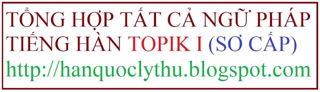 [Ngữ phápTOPIK I] Tổng hợp tất cả ngữ pháp Tiếng Hàn sơ cấp, ngữ pháp tiếng Hàn TOPIK I