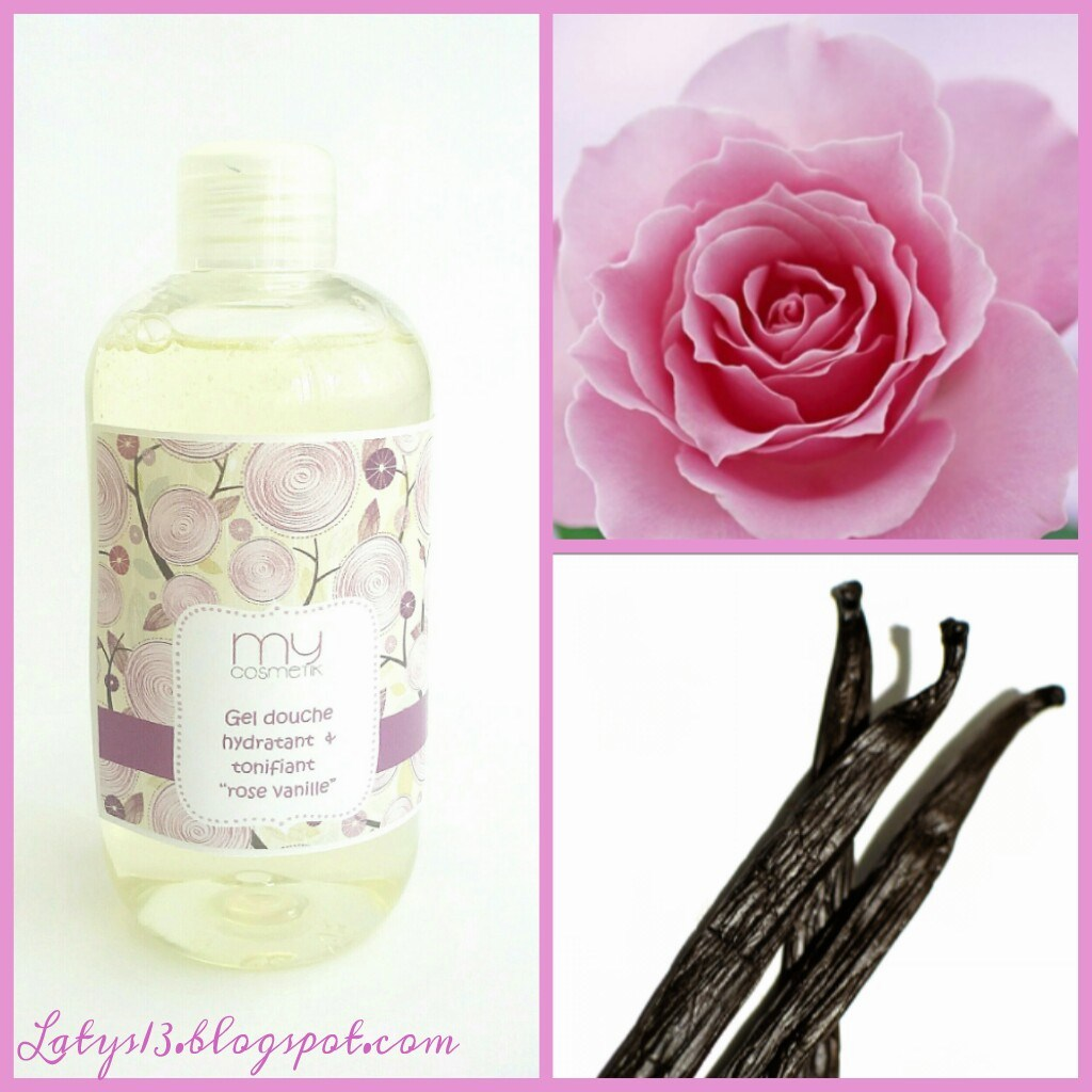 latys test mycosmetik gel douche hydratant tonifiant rose vanille. Black Bedroom Furniture Sets. Home Design Ideas