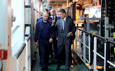 Russian President aboard the Pioneering Spirit construction vessel. With Gazprom CEO Alexei Miller.