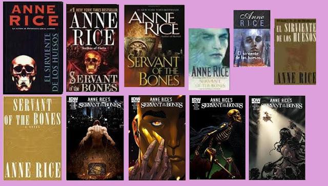 Portadas del libro de fantasía El sirviente de los huesos, de Anne Rice
