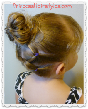 cute knotted hairstyle for toddlers, gymnastics, sports, etc.