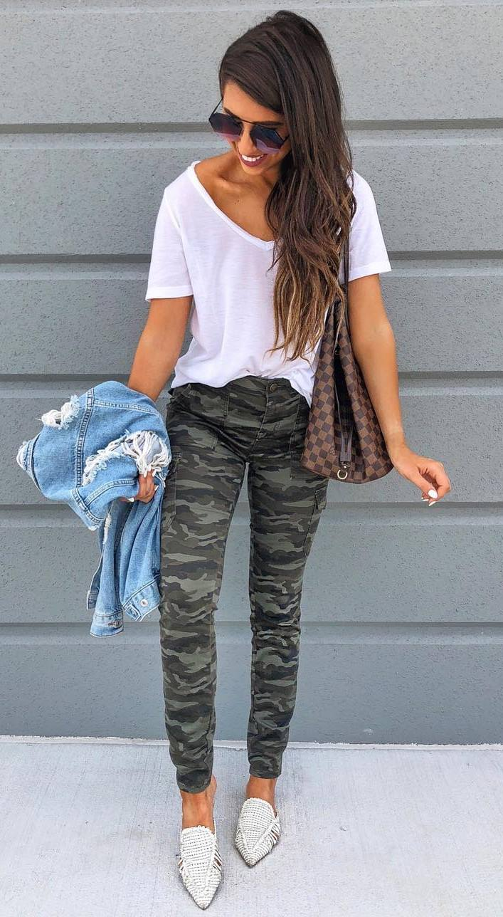 ootd   khaki pants + loafers + denim jacket + white t-shirt + bag