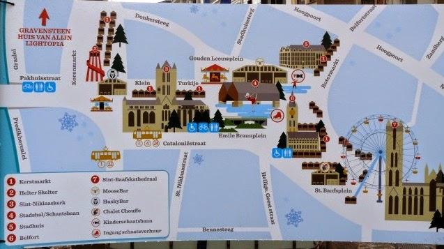 Mapa de mercadillos navideños en Gante