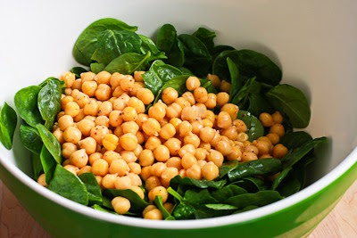 Mediterranean Spinach Salad with Garbanzos, Tomatoes, Radishes, and Sumac-Lemon Vinaigrette found on KalynsKitchen.com