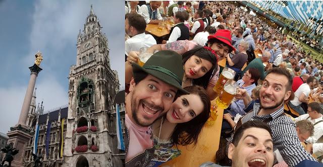 A Praça principal da cidade, Marienplatz e a Oktoberfest - Munique - Baviera - Alemanha