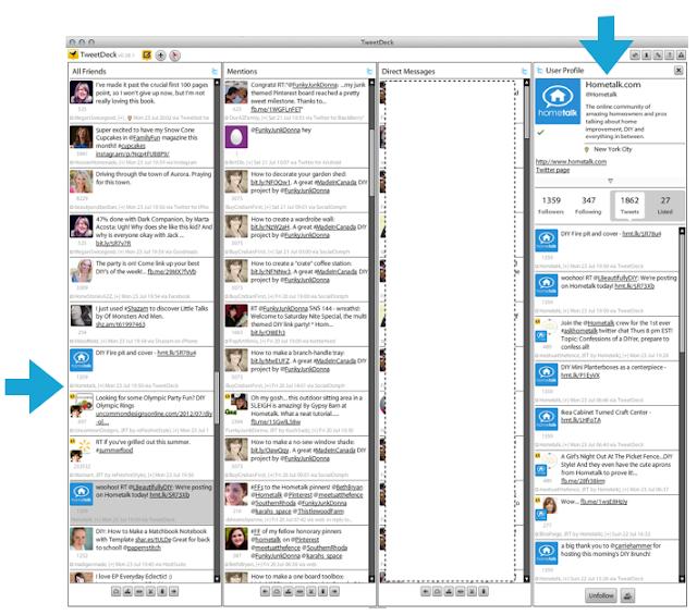 TweetDeck screen shot via Funky Junk Interiors How to use Twitter 3 ways