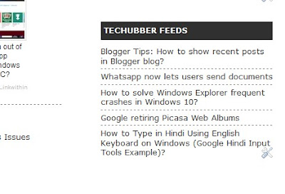 show recent blog posts on blogger using feed widget