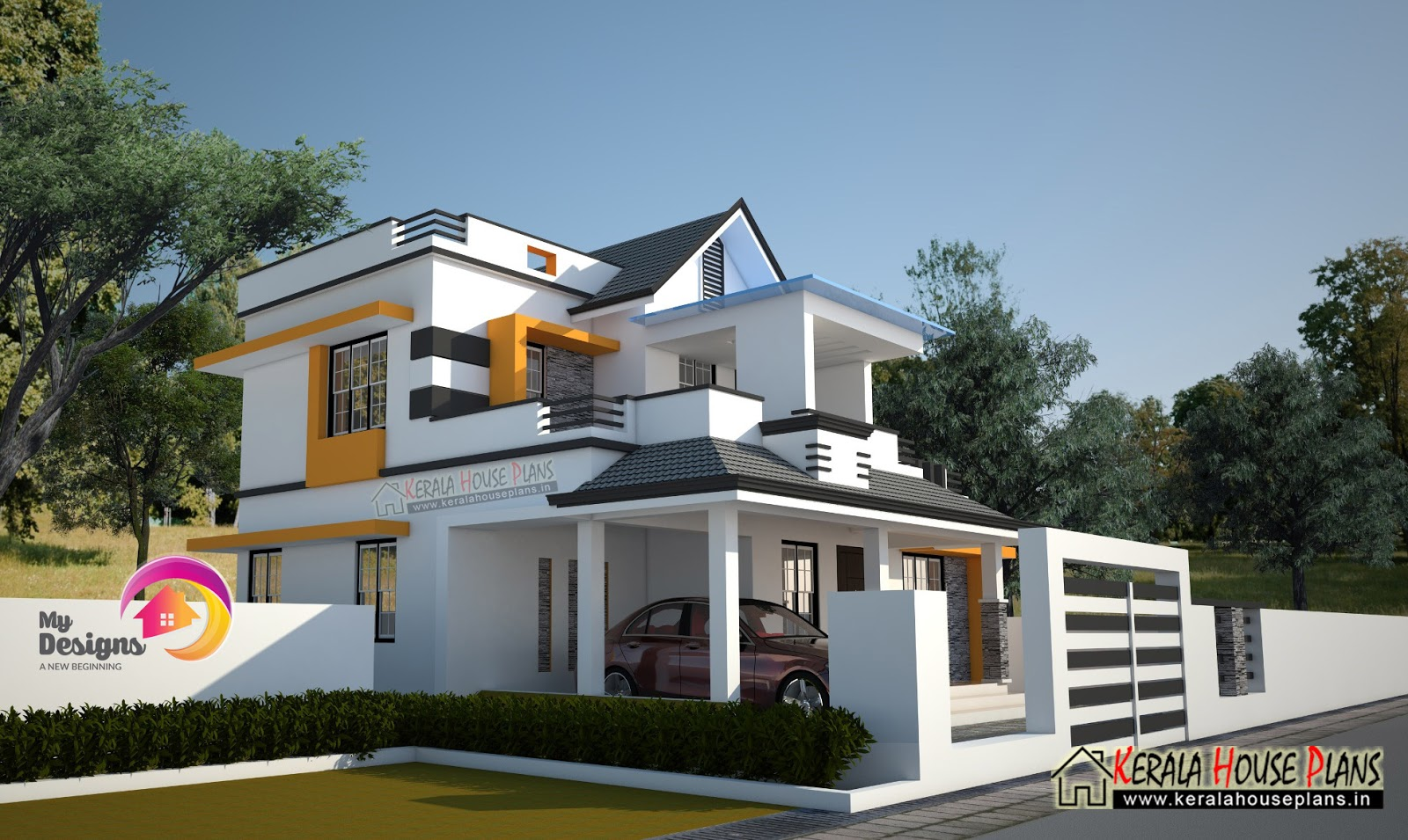 3 bedroom 2 story house design kerala house plans for Designer house plans