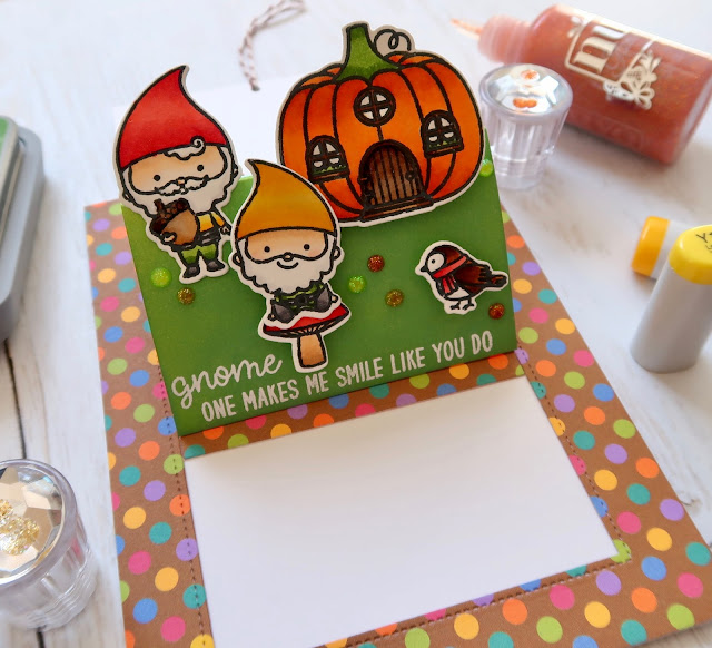 Sunny Studio Stamps: Sliding Window Home Sweet Gnome Card by Laura Sterckx
