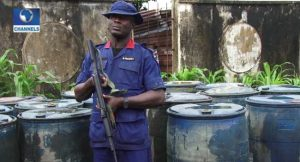 NSCDC Parades Suspected Oil Thieves With 54 Drums Of Diesel