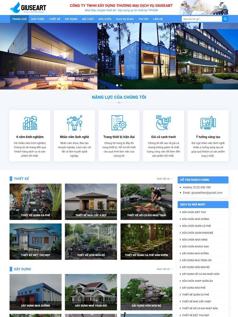 Mẫu website giới thiệu công ty xây dựng đẹp 2019 - Ảnh 1