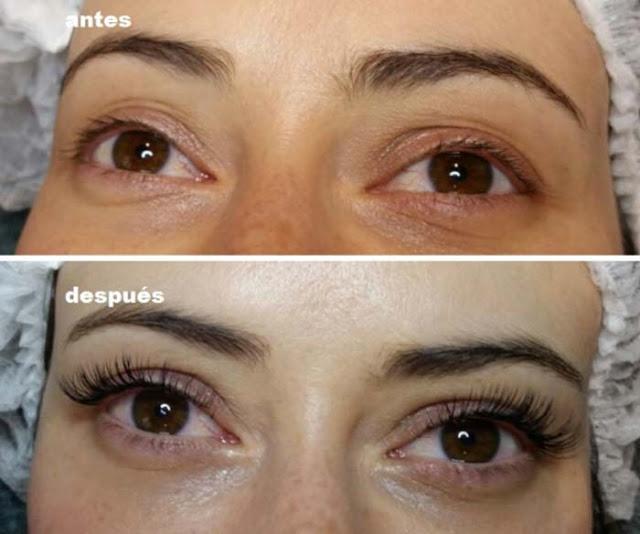 Antes y después de las extensiones de pestañas (Mírame)
