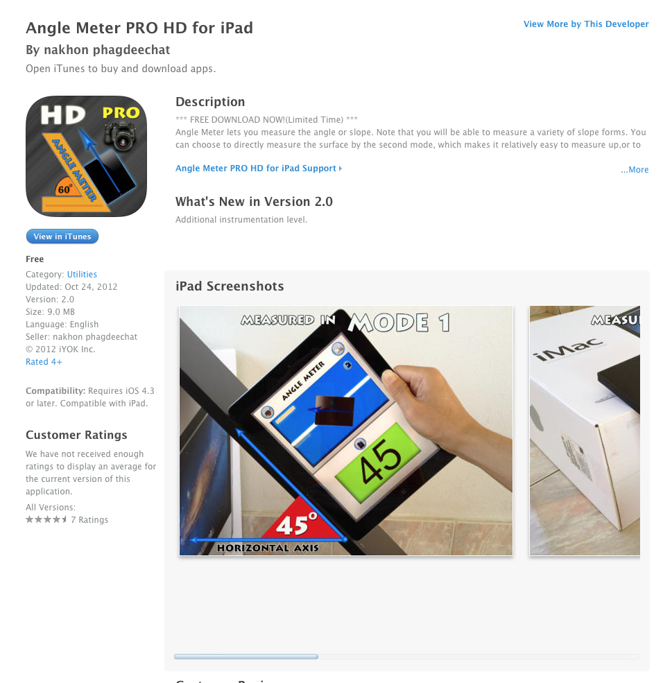UCET Free iOS App Today: Angle Meter PRO HD for iPad - UCET