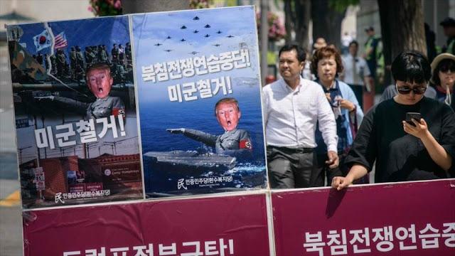 Surcoreanos piden retirada de tropas de EEUU de su país