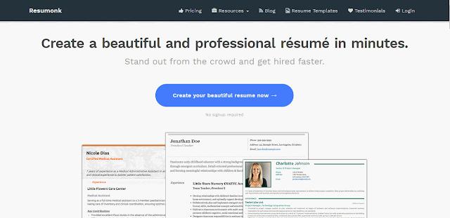 Cara Membuat CV Online dengan Resumonk