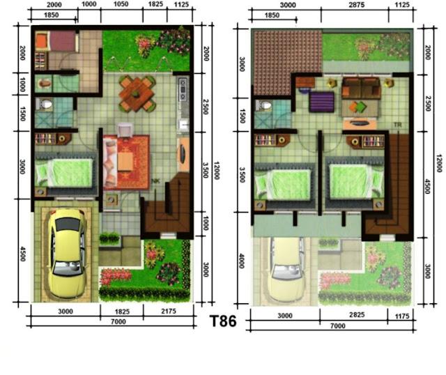 denah rumah 2 lantai mungil