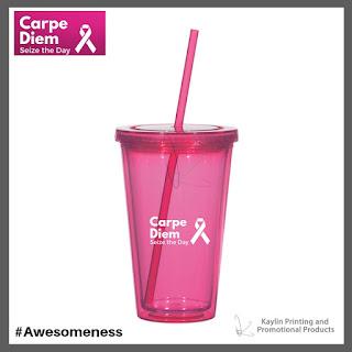 Promotional Pink Ribbon Plastic Tumbler Cups