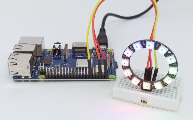 Raspberry Pi 3 B+ com anel de led RGB