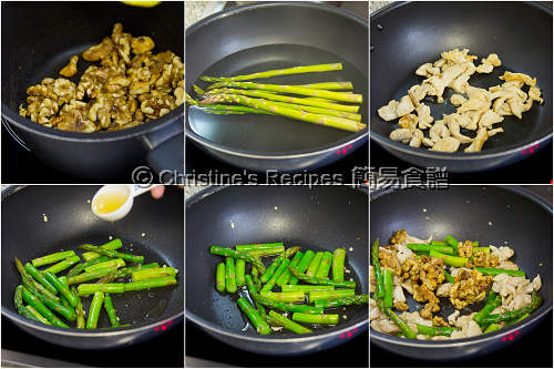 蘆筍炒核桃雞柳製作圖 Stir-fried Asparagus with Chicken and Walnuts