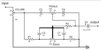 Skema Sederhana Dan Cara Membuat Tone Control Pasif Tanpa menggunakan Transistor
