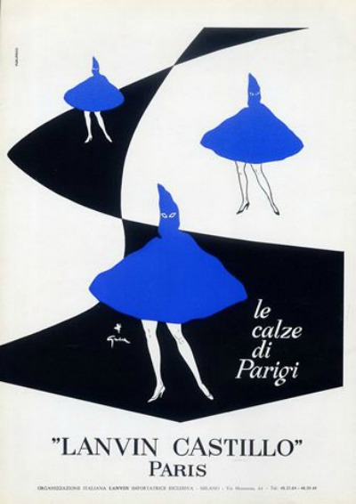Illustration for Lanvin Castillo Stockings by Rene Gruau in 1959