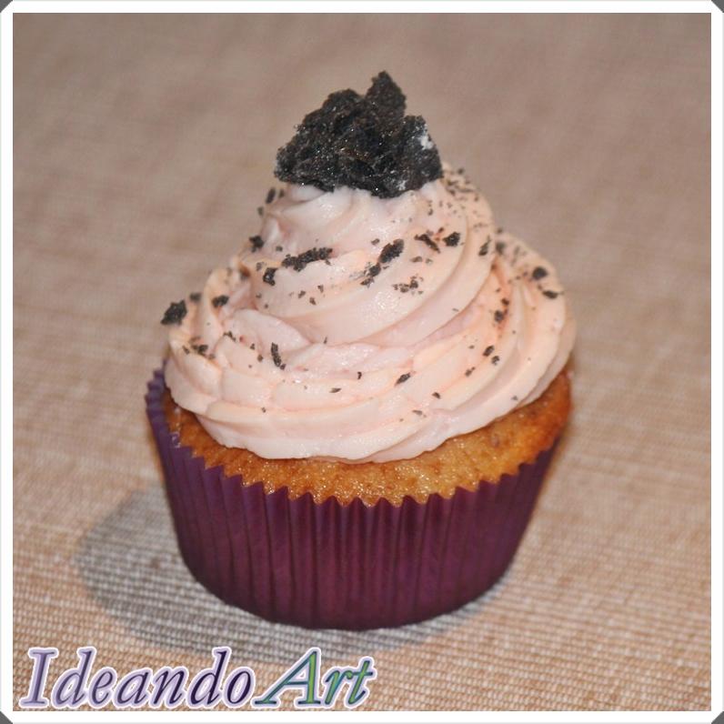 Cupcake fresa y carbón