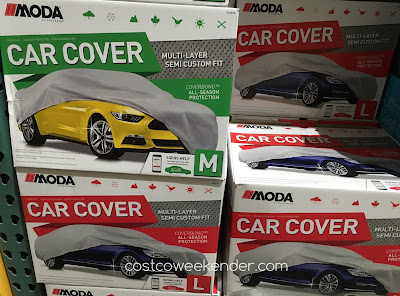 Coverking Coverbond Universal Car Cover shown in sizes medium and large