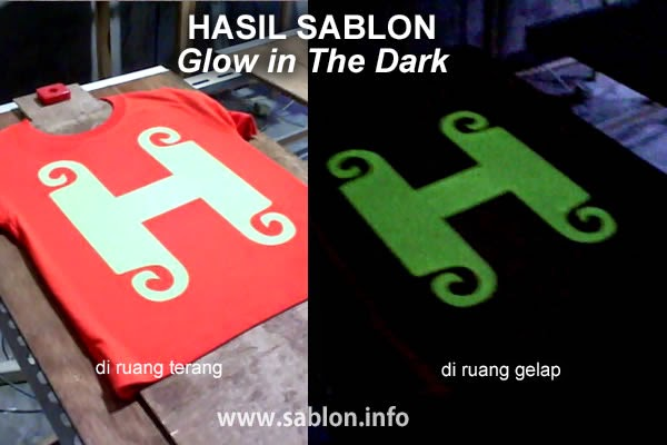 foto hasil sablon kaos glow in the dark