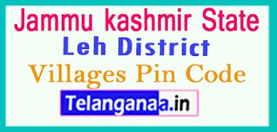 Leh District Pin Codes in Jammu kashmir State