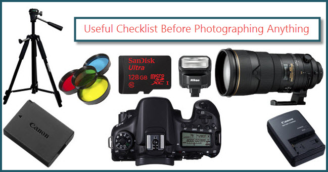 useful checklist before photographing anything