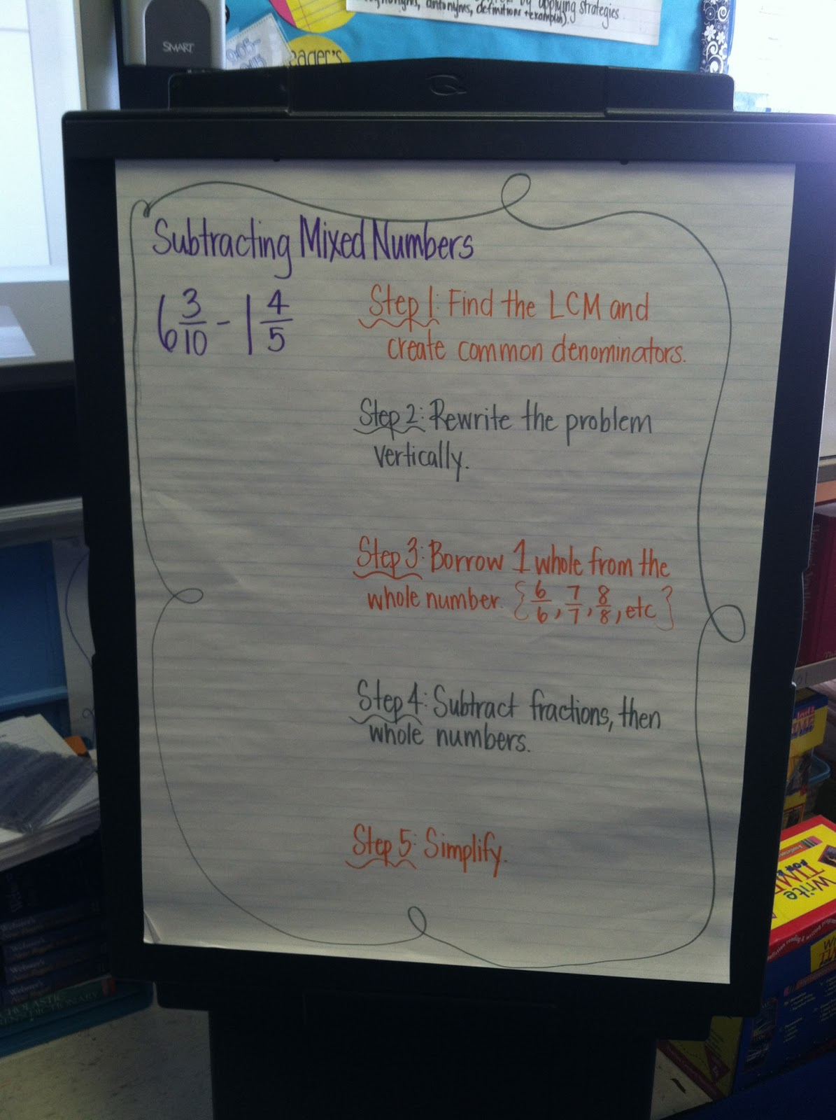 Subtracting Fractions Borrowing From Whole Numbers
