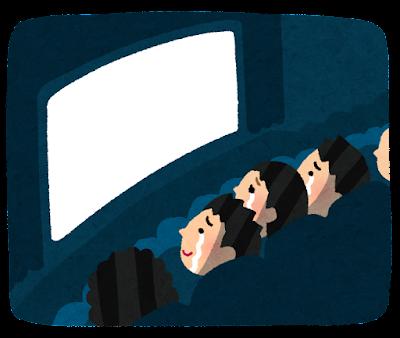 泣きながら映画を見る人達のイラスト(感動)