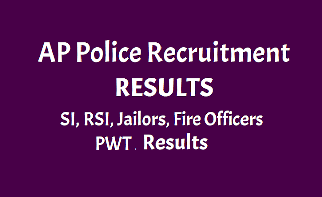 AP Police Results: SI, RSI, Jailors, Fire Officers PWT Results