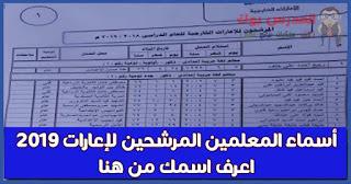 أسماء المعلمين المرشحين للإعارات الخارجية 2019 من قسم الاعارات الخارجية