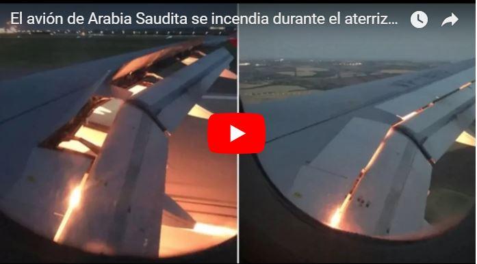 Fuego en el ala del avión de la selección de fútbol de Arabia Saudita
