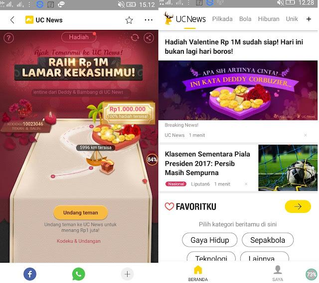 Hadiah UC News | Cara Mendapatkan hadiah Valentine dari UC News Total Hingga Mencapai Rp 1 Milyar Rupiah | Cek disini !!