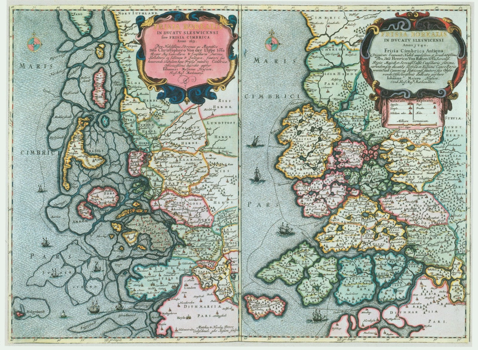 North Frisian coast (Netherlands) in 1651 an 1240, that shows how the coast line had changed